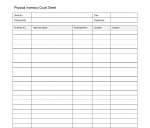 Free Physical Inventory Count Sheet
