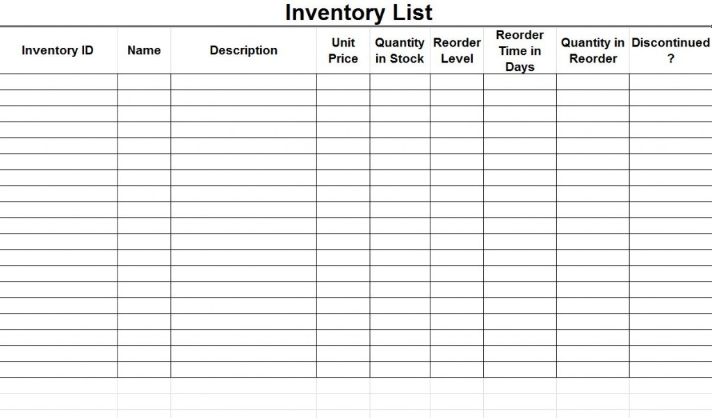 Doc580580 Inventory Supply List Sample Supply Inventory – Supply List Template