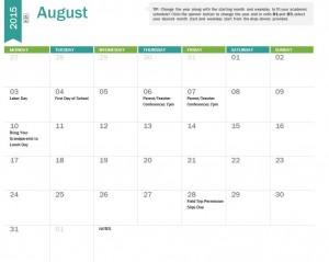 Printable 2015-2016 Academic Calendar
