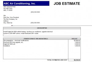 construction estimate form