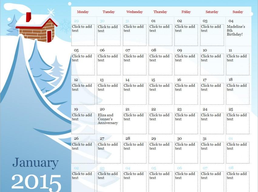 2015 Illustrated Seasonal Calendar