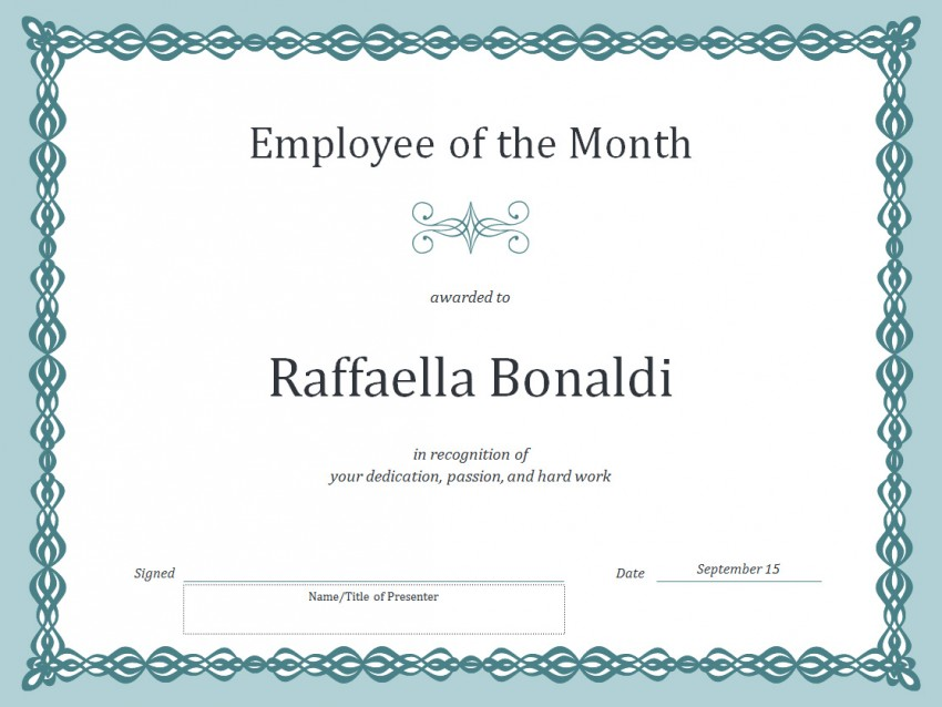 Employee of the month certificate template template haven for Employee of the month certificate template with picture