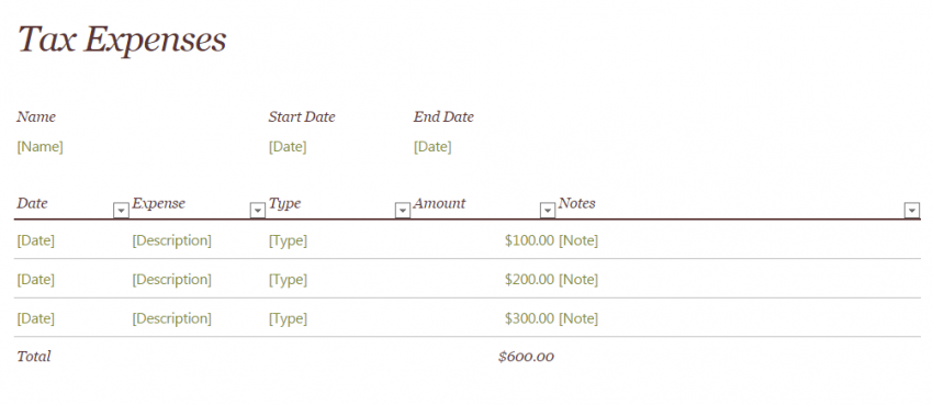 Tax Expense Template