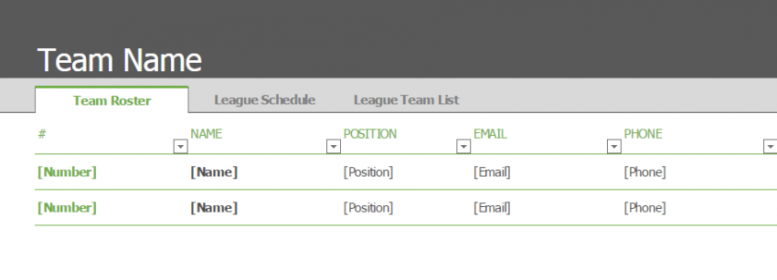 Team Roster and Schedule Template