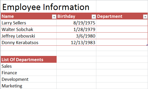 Drop Down Menus in Excel