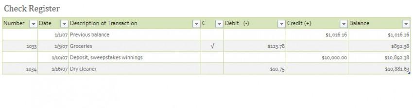 Checkbook Register Template
