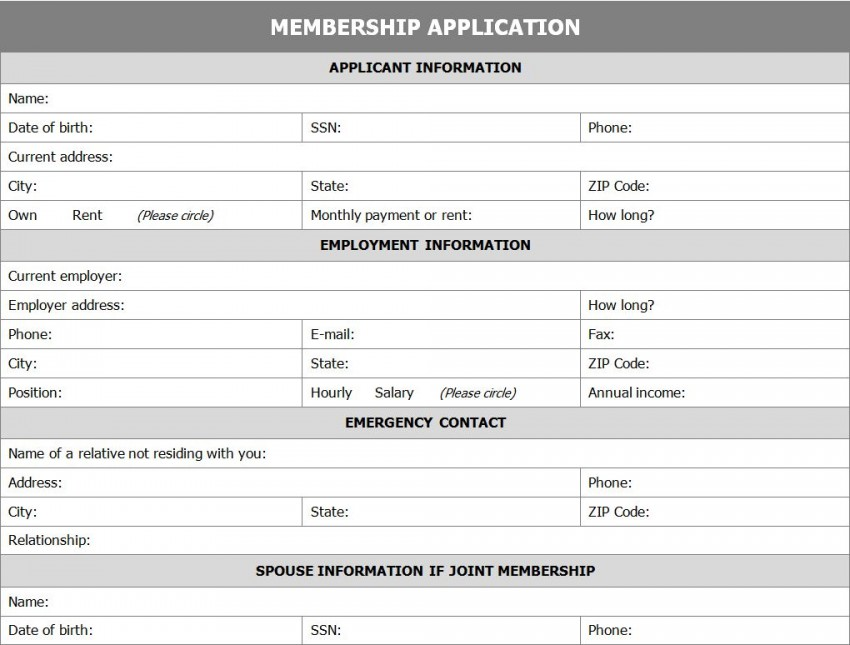 membership application form template template haven. Black Bedroom Furniture Sets. Home Design Ideas