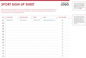 sports signup sheet template template haven