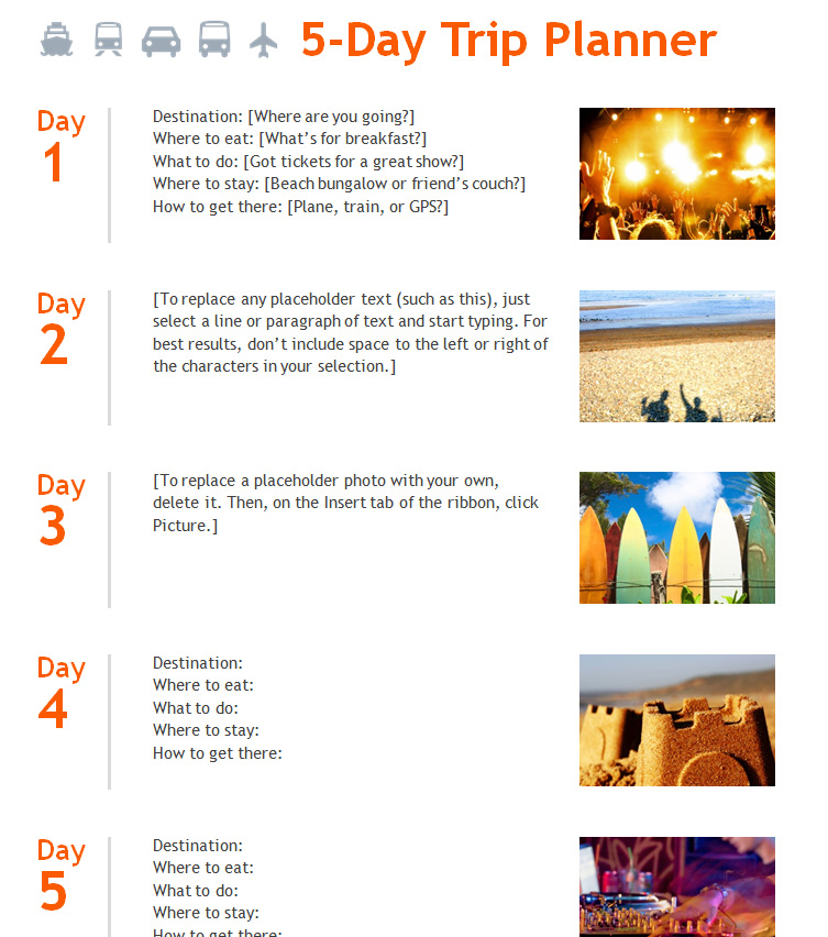 Travel Itinerary Template » Template Haven