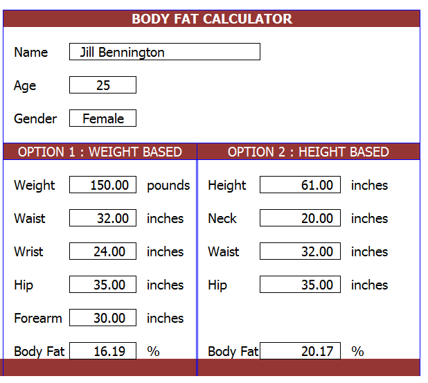 Body Fat Percentage Calculator Template
