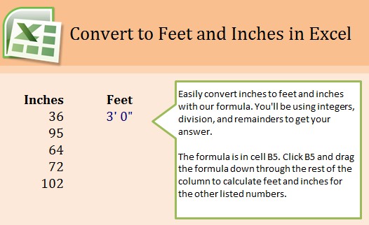 Change Inches to Feet in an Excel Template