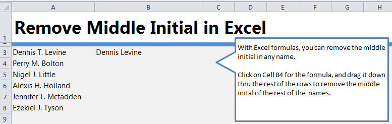 Remove Initial in Name in Excel