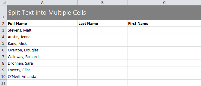 Splitting Text in Cells