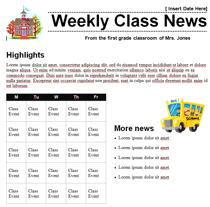 Classroom Newsletter Template » Template Haven