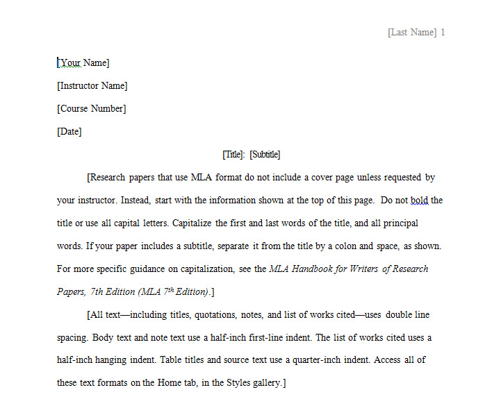 Mla style research paper template