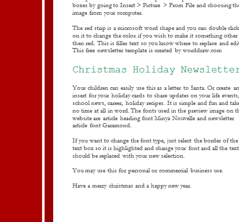 Holiday Christmas Newsletter