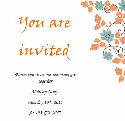 Simple Holiday Invitation Sheet