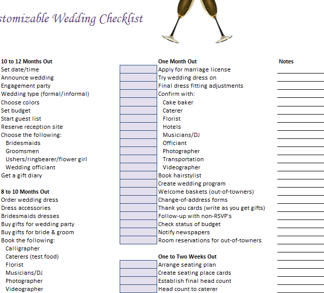 Customizable Wedding Checklist » Template Haven