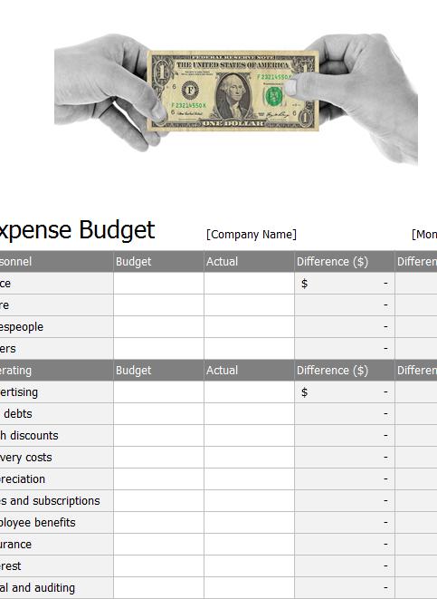 Expense Budget Sheet Template