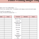Perfect Wedding Budget Template