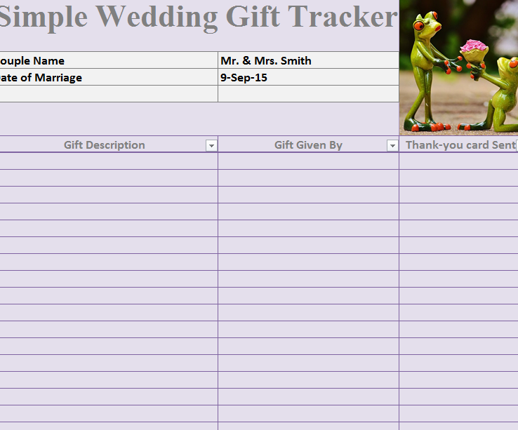 Wedding gift tracker template gift ftempo for Wedding shower gift list template