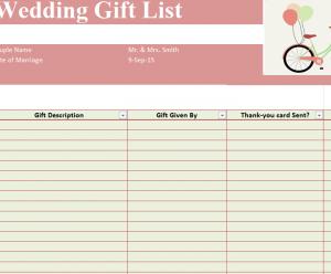 Wedding Gift List Template SheetTemplate Haven