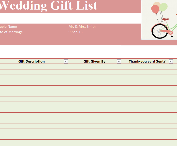 Wedding Gift List Template Sheet Template Haven