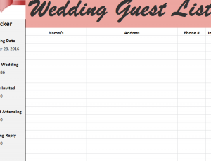 guest list template for wedding