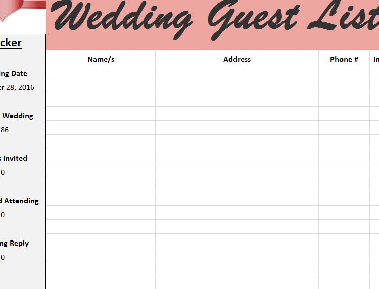 Wedding Guest List Tracker  Guest List Template For Wedding