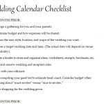 Calendar Wedding Checklist