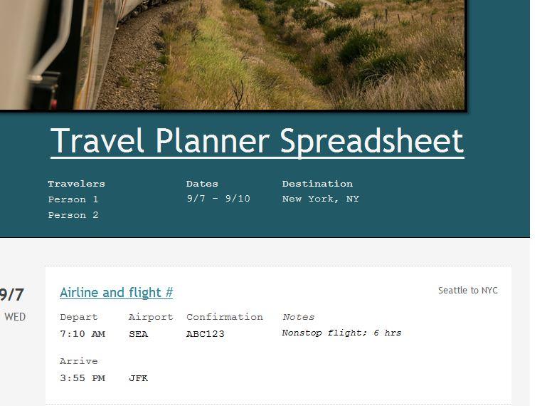 Travel Planner Spreadsheet