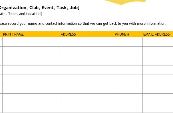 bake sale sign up sheet template