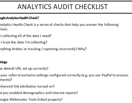 Analytics Audit Checklist