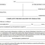 Complaint for Defamation of Character