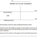 Motion to Vacate Judgment