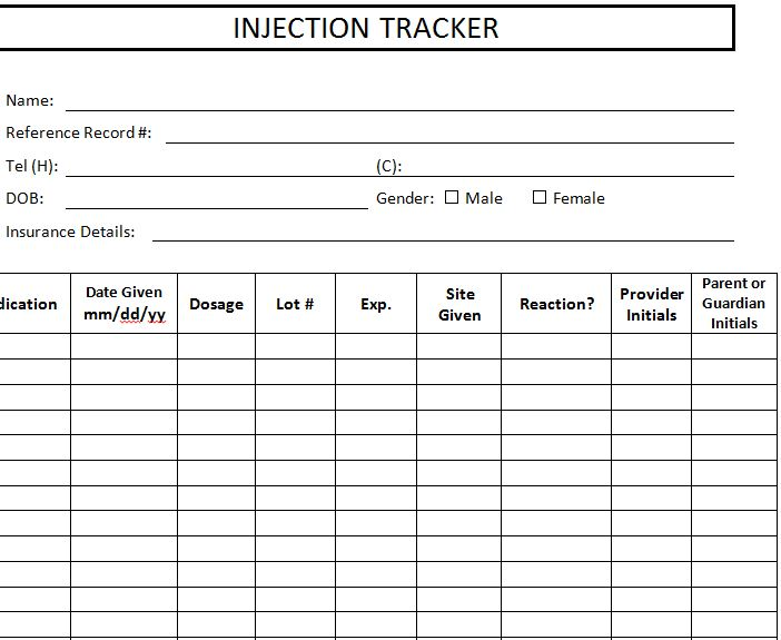 Injection Tracker Template
