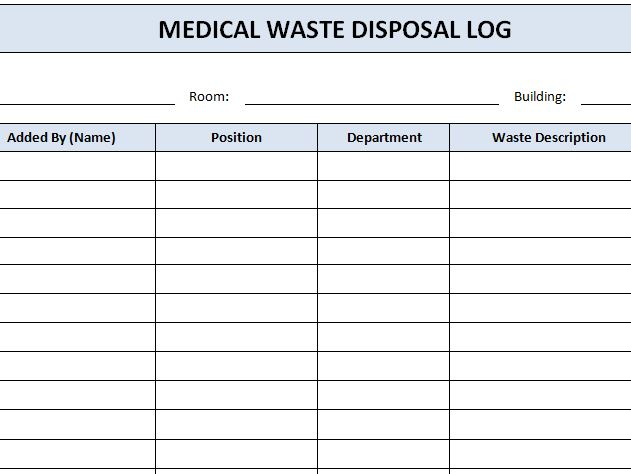 Medical waste disposal log template haven for Waste management strategy template