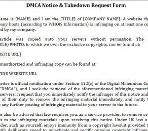 DMCA Notice Template