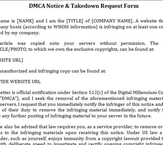 Dmca Notice Template » Template Haven