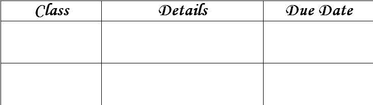 Assignment Planner Sheet