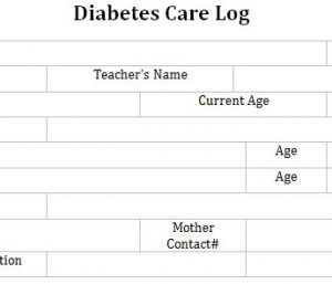 Diabetes Care Log for School
