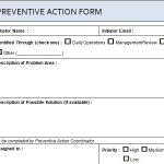 Project Preventive Action Form