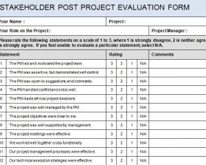 ... Stakeholder For A Project Or You Want To Provide Your Stakeholders With  A Post Project Analysis, Then The Free Stakeholder Post Project Evaluation  Form ...