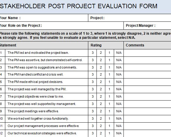 High Quality Stakeholder Post Project Evaluation Form