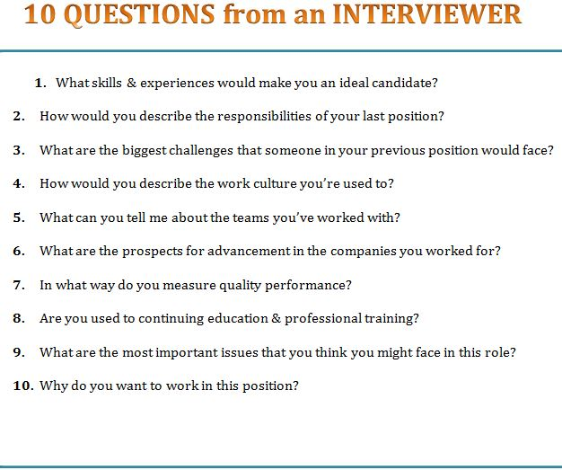 10 Questions from an Interviewer Template