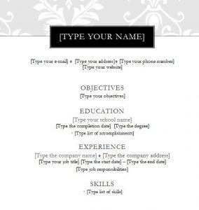 Black Tie Resume Template