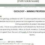 Geology Specialist Resume