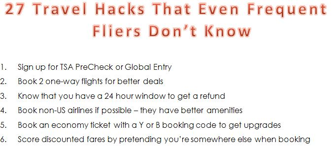 27 Travel Hacks List