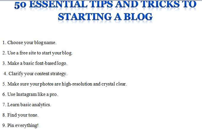 50 Essential Tips and Tricks to Starting a Blog