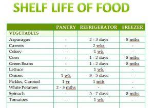 Shelf Life of Food Template